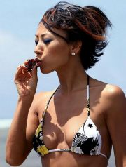21833, OAHU, HAWAII, Monday May 12, 2008. **EXCLUSIVE** Bai Ling poses for photographs while in Hawaii on a weeks vacation from filming her latest movie