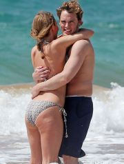 51392218 'The Quiet Ones' actor Sam Claflin and his wife Laura Haddock enjoying a day on the beach in Maui, Hawaii on April 23, 2014. The pair played in the waves and showed some PDA while out on the beach. FameFlynet, Inc - Beverly Hills, CA, USA - +1 (818) 307-4813