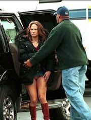Caption=Los Angeles, CA Jan. 15, 2002Jennifer Lopez flashes her panties for the lads upon her arrival to the