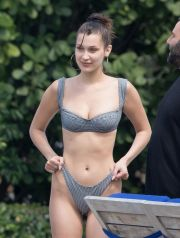 Bella Hadid and Hailey Baldwin wear bikinis in Miami. <P> Pictured: Bella Hadid <B>Ref: SPL1689944  300418  </B><BR /> Picture by: Splash News<BR /> </P><P> <B>Splash News and Pictures</B><BR /> Los Angeles:	310-821-2666<BR /> New York:	212-619-2666<BR /> London:	870-934-2666<BR /> photodesk@splashnews.com<BR /> </P>